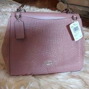 Pink Coach pebble leather and suede bag